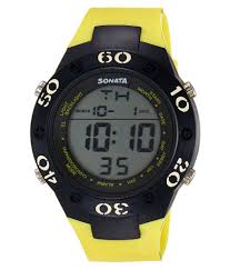 sonata 77035pp03 yellow leather digital watch sonata 77035pp03 yellow leather digital watch at best s in india on snapdeal