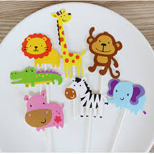 7pcs Cute Wild Animal Cake Toppers Jungle Party Supplies Kids 1st