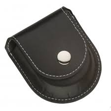 black leatherette pocket watch pouch