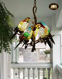 Vintage Tiffany Style Stained Glass Retro Five Parrot Pendant Lamp  Chandelier