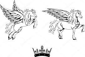 Okřídlený Kůň Pegas Tetování Set1 Stock Vektor Hayashix23 56768099