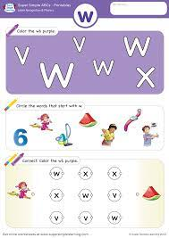 Free letter w writing practice worksheet for kindergarten kids, teachers, and parents. Letter Recognition Phonics Worksheet W Lowercase Super Simple