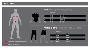 G Form Shirt Pant Short Size Chart