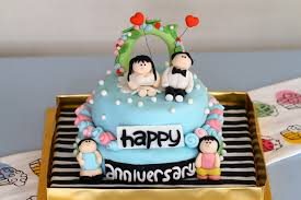 Birthday And Anniversary Cake Design Brown Wedding Simple Fondant
