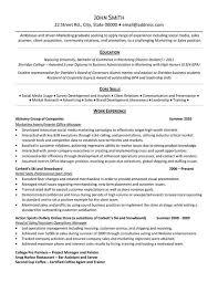 marketing internship resume template resumes for college internships sample resume for an internship