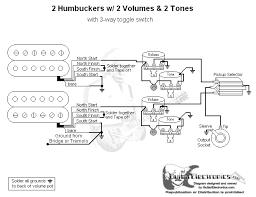2 humbuckers 3 way toggle switch 2 volumes 2 tones