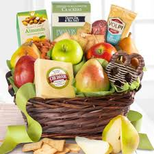 aa3015 fresh fruit cheese and salami gourmet gift basket