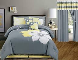 Image Grey Image Unavailable Amazoncom Amazoncom Yellow Grey White Floral Bedinabag Queen Size Bedding