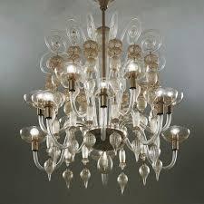traditional chandelier glass blown glass metal 99 37 by carlo scarpa