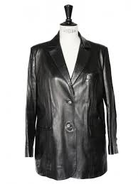 luxury black lambskin leather blazer jacket size 42