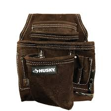 leather carpenter tool bag with suede upc 644323700256 product image for tool belts husky tool belt pouches 10 pocket suede