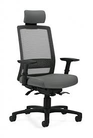 chair with headrest. global spritz 6760-8 weight sensing synchro tilter mesh back office chair with adjustable headrest t