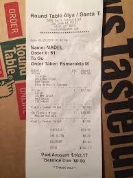 photo of round table pizza san jose ca united states receipt