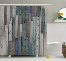 Modern Arts Shower Curtains Rustic Planks Barn House Wood and Nails