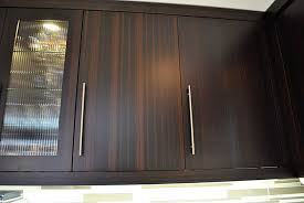 modern kitchen bamboo cabinets long handles and glass window