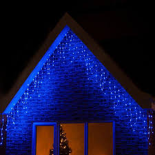 Blue And Warm White Icicle Lights 480 Led Icicle Lights Blue Christmas Decorations Trees