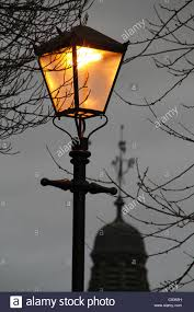 Old Fashioned Street Lights Old Style Street Lighting With Electric Bulbs Stock Photo