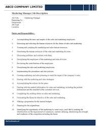 job description marketing manager responsibilities of a marketing director 30052017 service director job description