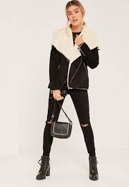 missguided black faux fur waterfall jacket