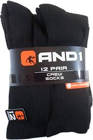 And1 Clothing Size Chart And1 12 Pairs Black Crew Socks Mens Size 6 12 5 And 1