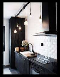 black kitchen lighting. Black And White Kitchen With Contemporary Lights Lighting O