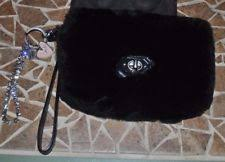 Authentic Coach Madison Clutch Rabbit Fur Bag 48464 Black w extra bling