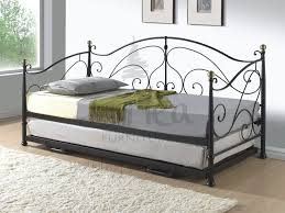 Milano Metal Day bed with adjustable bed underneath in either Cream or  Black finish