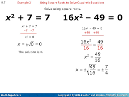 using square roots to solve quadratic equations solve using square roots