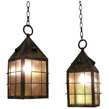 arts and crafts lighting fixtures pendant pair of arts and crafts copper lantern pendant lights with