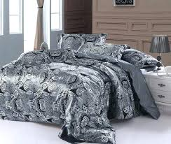 king duvet covers paisley bedding set super king size queen double silver grey satin quilt