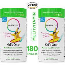 Rainbow Light Kids One Food Based Multivitamin 2 Packs Of 90 Chewable Probiotic Vitamin And