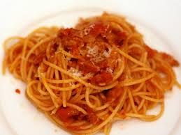 dinner tonight pasta with onion bacon and tomato pasta all amatriciana