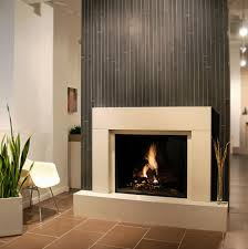 Decorations:Electric Corner Fireplace Design With Grey Tile And Pillars  Also Potted Plats On Laminate