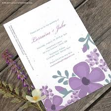 new romantic floral designs for our seed paper printable wedding Printable Wedding Invitation Kits Purple invitation find out more about our budget friendly and eco friendly seed paper printable wedding Printable Wedding Invitation Templates Blank
