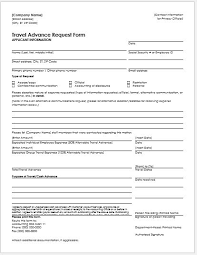 Travel Advance Request Form For Ms Word Word Excel Templates