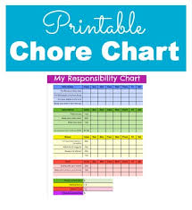 Responsibility And Chore Chart For Kids With Printable Chore