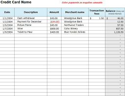 Credit Card Tracker Excel Credit Card Use Log Credit Card Use Template