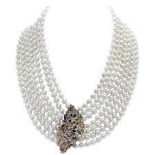 multicolor sapphires rubies emeralds diamonds pearl 7 row gold and si necklace for