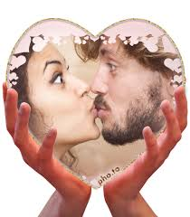 a nice romantic ecard with a kissing couple s photo in a heart shaped frame