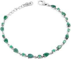 Серебряный браслет <b>Evora</b> 619484-<b>e</b> с изумрудами — купить в ...