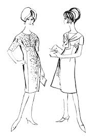 Small Picture 1960s Colouring In Fashion Line Drawings for Sewing Patterns