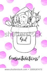 Royalty Free Stock Illustration Of Newborn Baby Girl Flowers