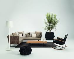 modern simple interior furniture and design with l shape sofa and low  industrial coffee table plus