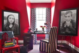 red home office. Photo By: Danny Piassick Red Home Office C