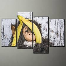4panels canvas wall art prints giclee canvas prints for home decoration monkey canvas printing paintings on canvas frame no
