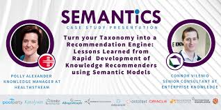 "SEMANTiCS Conference on Twitter: ""@HealthStream's Polly Alexander &  @EKConsulting's @ConnorVilenio share how to capitalize on an organization's  #taxonomy and implement a recommendation system that suggests relevant  courses to healthcare pros for their"