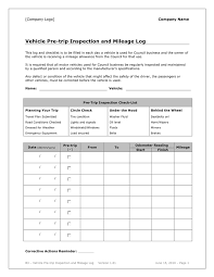 Vehicle Pre Trip Inspection And Mileage Log In Word And Pdf