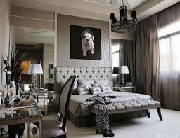 black gray glass bedroom with chandelier