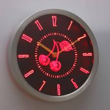 Retro Cherry Kitchen Decor Nc0964 B Retro Cherry Decor Kitchen Neon Sign Led Wall Clock Ebay
