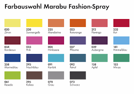Fashion Colour Chart Marabu Fashion Colour Fabric Textile Spray Colour Chart